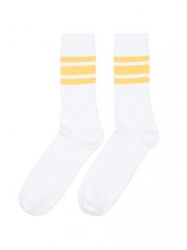 Casual sport blanco bandas amarillas