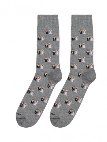 calcetines con estampado de novios gris